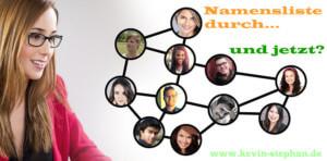 Ein Netzwerk aus Leuten und die Schrift 'Namensliste, und jetzt?'